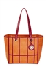 Terracotta & Burgundy Window Pane Tote