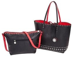 Reversible Tote with inner pouch in Black and Red