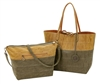 Reversible Tote with inner pouch in Camel, Olive & Terracotta