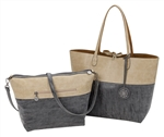 Reversible Tote with inner pouch in Sand, Coal & Mocha