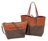 Reversible Tote with inner pouch in Cinnamon, Chocolate & Cranberry