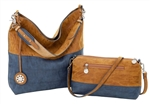 Mocha, Burlap & Navy  Reversible Hobo