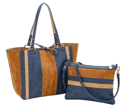 Reversible Medium Tote with inner pouch in Mocha, Navy & Burlap