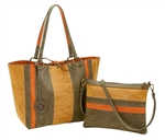 Reversible Medium Tote with inner pouch in Camel, Olive & Terracotta