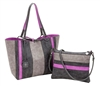 Reversible Medium Tote with inner pouch in Graphite, Coal & Orchid