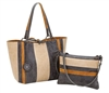 Reversible Medium Tote with inner pouch in Sand, Coal & Mocha