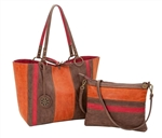 Reversible Medium Tote with inner pouch in Cinnamon, Chocolate & Cranberry