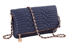 Navy Quilted Clutch