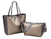 Gold and Gunmetal Metallic East/West Tote with Inner Pouch