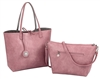 Pink & Silver Reversible Tote with Inner Pouch