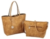 Camel & Cement Reversible Tote with Inner Pouch