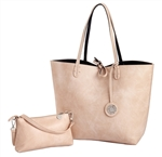 Blush & Black Reversible Large Tote with Inner Pouch