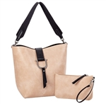 Bucket Tote-Blush/Black