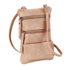 Double Zip Cross Body Cell Phone Holder/Blush