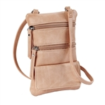 Blush Double Zip Cross Body/Cell Phone Holder