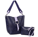 Bucket Tote w/Envelope Pouch-Navy/ Violet