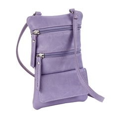 Double Zip Cross Body Cell Phone Holder/Violet