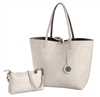 Reversible Large Tote-Creme/ Pewter