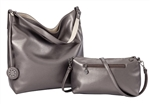 Reversible Hobo-Pewter/ Cream