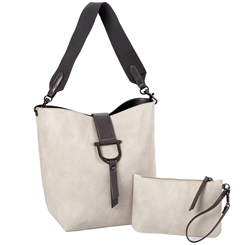 Bucket Tote w/Envelope Pouch-Cream/ Pewter