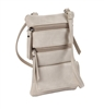 Double Zip Cross Body Cell Phone Holder/Creme