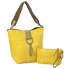 Bucket Tote w/Envelope Pouch-Buttercup/ Sage