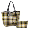 Green & Black Plaid Reversible Tote