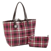 Fuchsia & Chocolate Plaid Reversible Tote