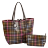 Chocolate & Fuchsia Plaid Reversible Tote