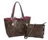 Chocolate & Fuchsia Reversible Medium Tote