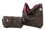 Chocolate & Fuchsia Reversible Hobo