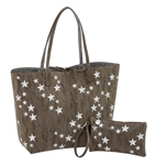 Taupe with Silver Embroidered Stars Reversible Tote