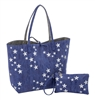 Denim with Silver Embroidered Stars Reversible Tote
