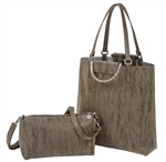 North South Tote-Taupe/Silver
