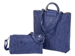 North South Tote-Denim/Silver