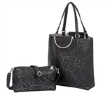 North South Tote-Distressed Black/Silver