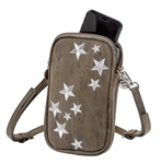 Embroidered Stars Double Zip Crossbody