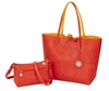 Reversible Tote with inner pouch in Orange and Yellow.
