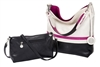 White, Fuchsia & Black Reversible Hobo