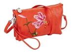 Orange Botanical Embroidered Crossbody