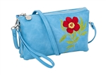 Turquoise Botanical Embroidered Crossbody