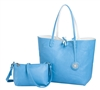Reversible Large Tote-Tropical Blue/White