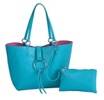 Reversible Ring Tote-Teal/Pink