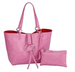 Reversible Ring Tote-Pink/Red