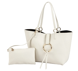 Reversible Ring Tote-Creme/Black
