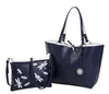 Reversible Medium Tote with Embroidered Dragonfly Inner Pouch-Navy/White