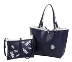 Reversible Medium Tote with Embroidered Inner Pouch
