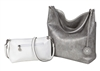 Silver & White Reversible Hobo