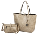Reversible Tote with inner pouch in Sand and Coal
