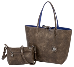 Reversible Tote with inner pouch in Chocolate and Cobalt